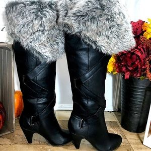 Faux Fur Lined Black Heel Tall Boots